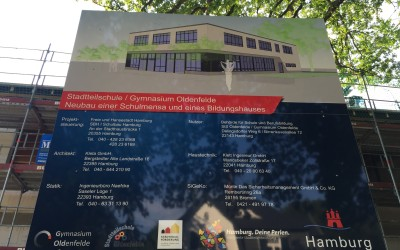Richtfest für Neubau von Schulmensa und Klassenräumen für Stadtteilschule und Gymnasium Oldenfelde