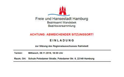 Regionalausschuss Rahlstedt tagt am 9. November 2016