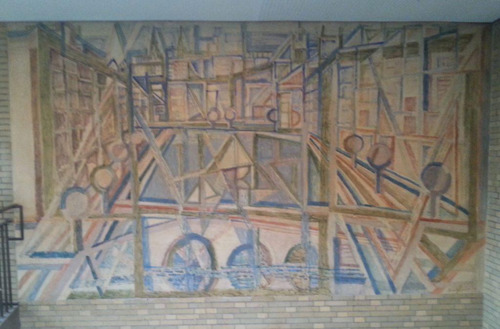 """Wandgemälde """"Blick von der Lombardsbrücke"""" (1959) von Eduard Bargheer im Kreuzbau des Gymnasiums Rahlstedt, Hamburg."""