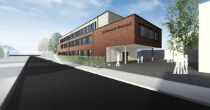 Visualisierung des Neubaus an der Stadtteilschule Altrahlstedt. Urheberrecht: Trapez Architektur, Hamburg.