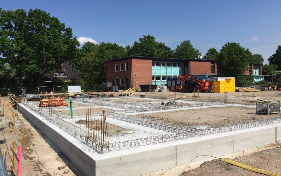 Baustelle für die zweite Sporthalle der Stadtteilschule Meiendorf