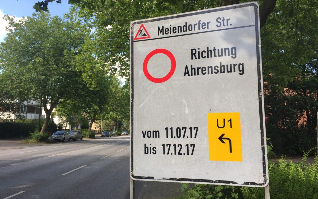 Ab nächster Woche: Meiendorfer Straße wird zur Großbaustelle
