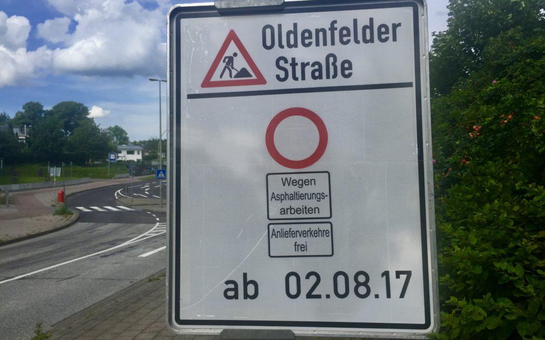 Neue Fahrbahndecke für die Oldenfelder Straße