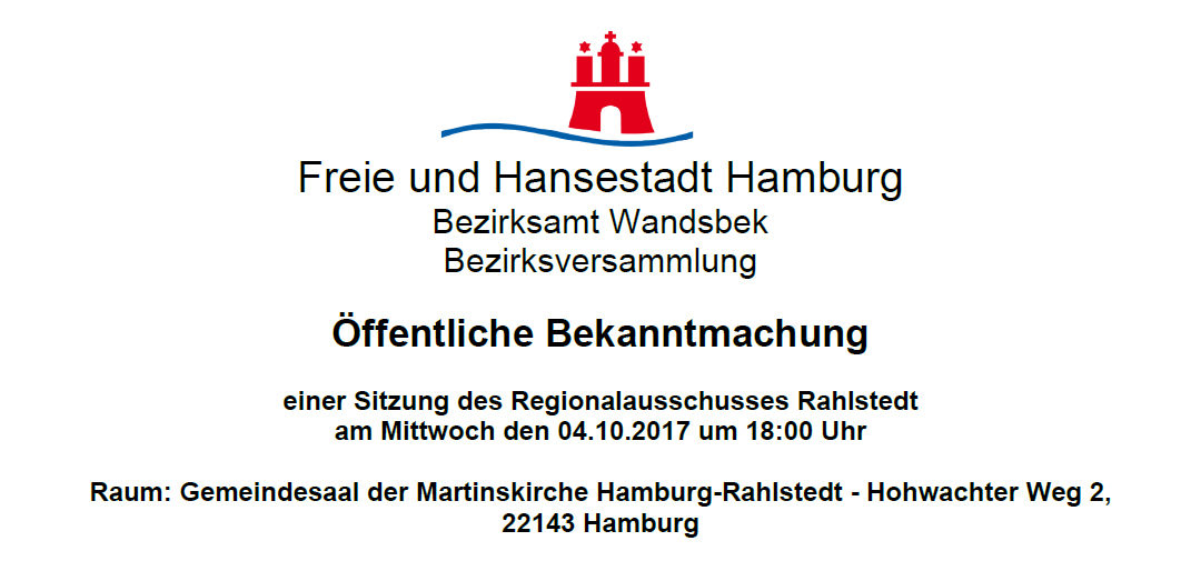 Regionalausschuss Rahlstedt tagt am 4. Oktober