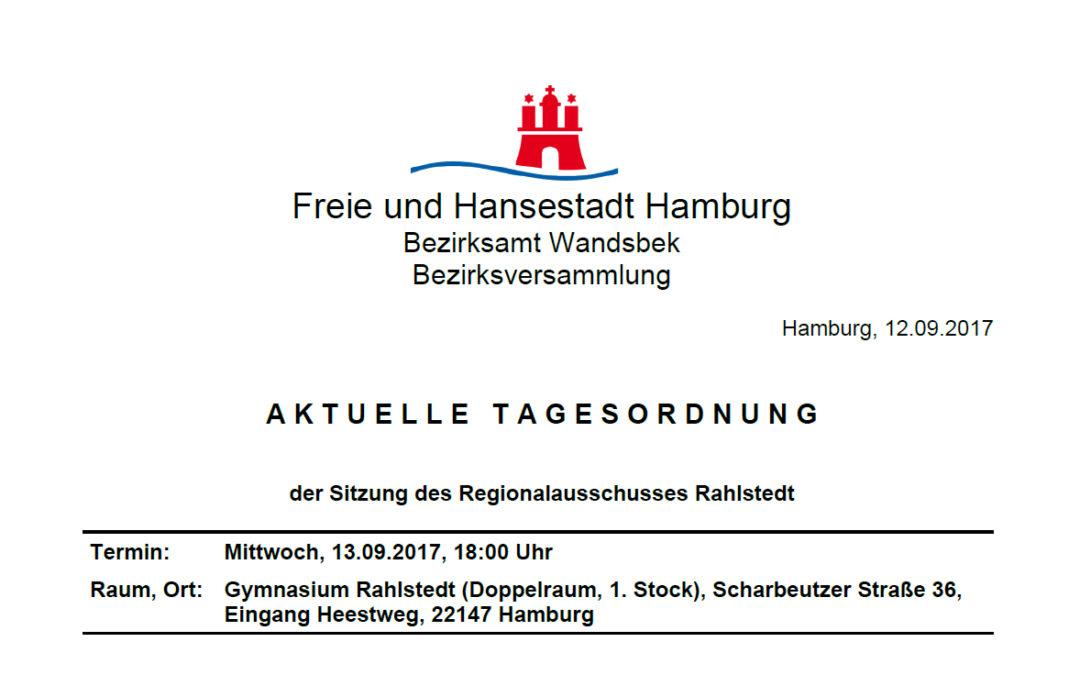 Regionalausschuss Rahlstedt tagt am 13. September