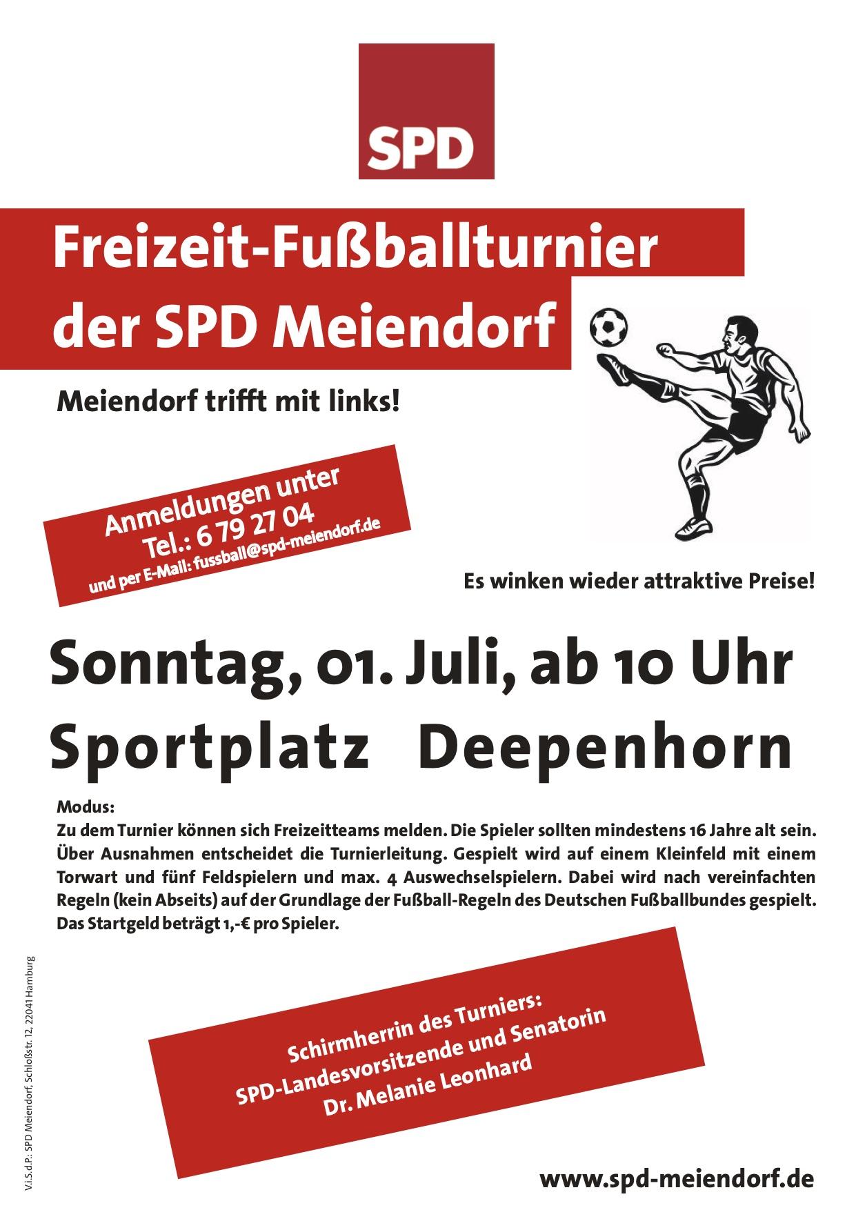 SPD Meiendorf lädt ein zum Freizeit-Fußballturnier am 1