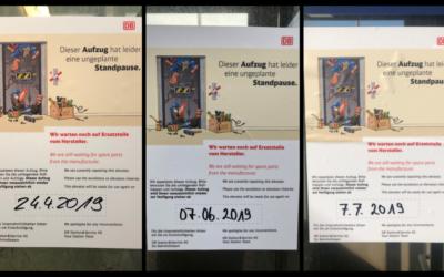 Update: Aufzug am Bahnhof Rahlstedt monatelang außer Betrieb
