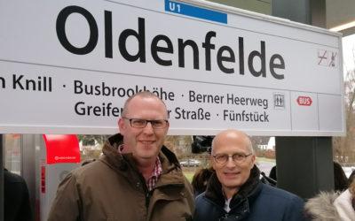 Neue Haltestelle: Die U1 hält jetzt in Oldenfelde