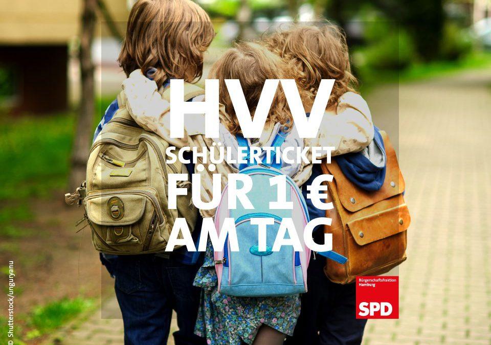 Ab 1. August: HVV-Schülerjahresticket für einen Euro am Tag!