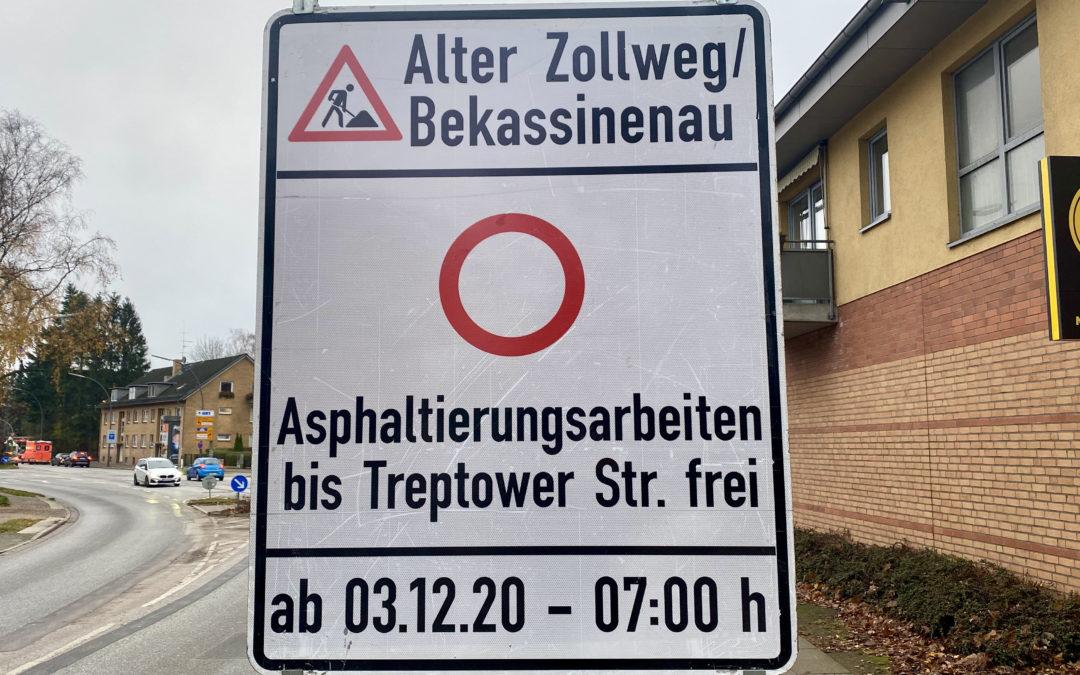 Vollsperrung: Alter Zollweg und Bekassinenau bekommen neue Fahrbahndecke