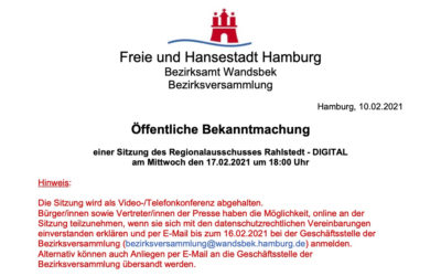 Regionalausschuss Rahlstedt tagt wieder am 17. Februar 2021