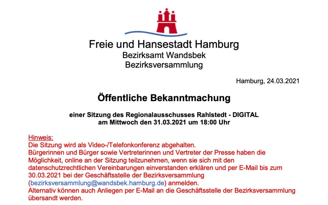 Regionalausschuss Rahlstedt tagt wieder am 31. März 2021