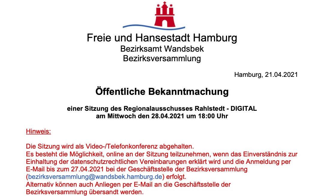 Regionalausschuss Rahlstedt tagt wieder am 28. April 2021
