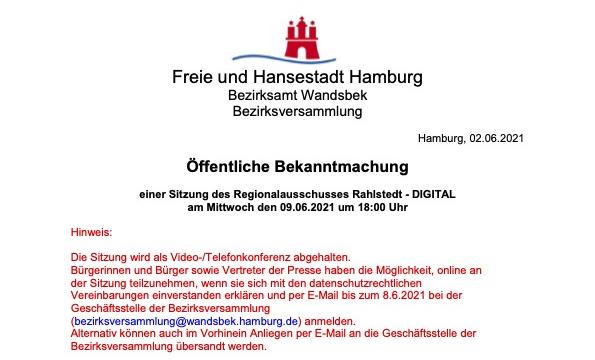 Regionalausschuss Rahlstedt tagt wieder am 9. Juni 2021